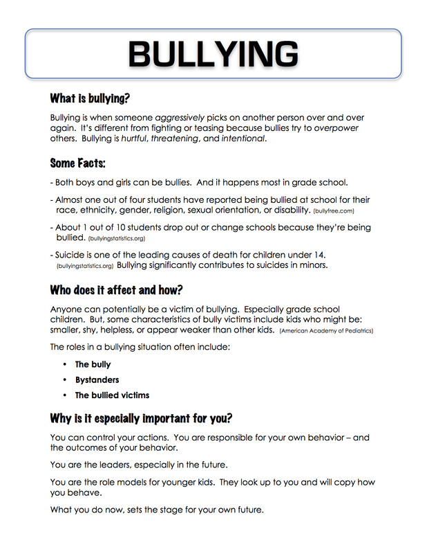 ... for the students to fill in with examples of each type of bullying